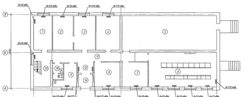 Проектирование отопления подстанции 220кВ 1-ый этаж