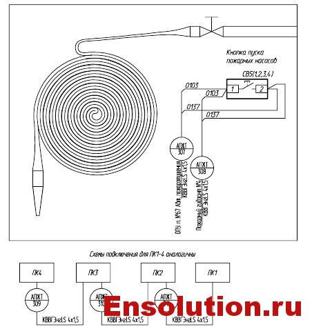 Автоматика пожаротушения трансформатора - монтажная схема