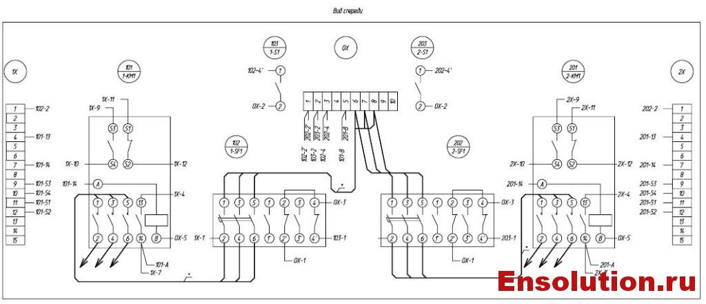 Автоматика пожаротушения трансформатора - схема электрических соединений