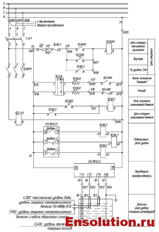 Автоматика пожаротушения трансформатора - электроклапан заполнения пожарного резервуара
