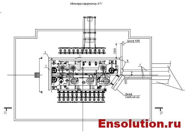 Подвод силовых и контрольных кабелей к автотрансформатору 220кВ 1