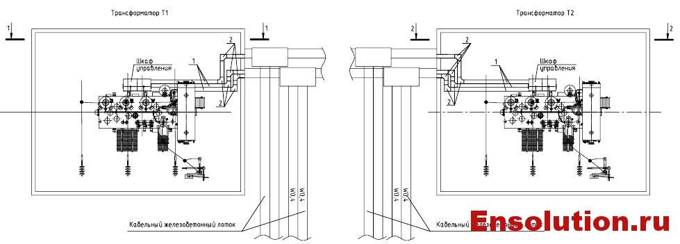 Подвод силовых и контрольных кабелей к автотрансформатору 220кВ 5