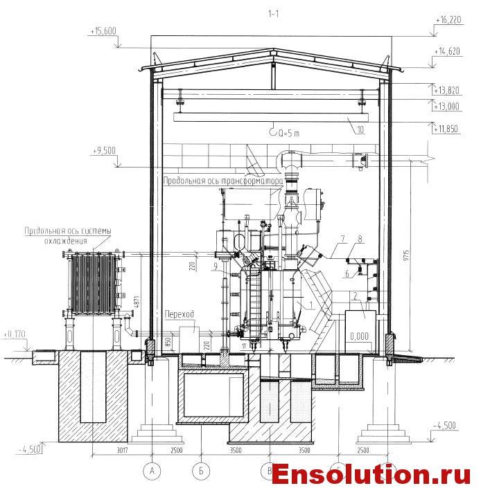 Чертеж автотрансформатора 500кВ в здании - 1