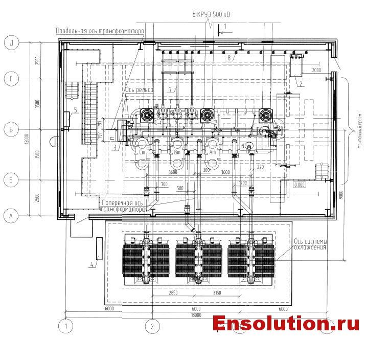 Чертеж автотрансформатора 500кВ в здании - 2