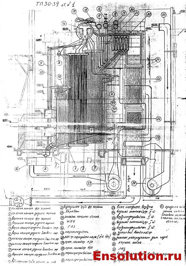 Котел ТП-30-39 - схема