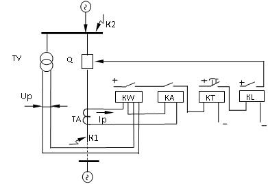 Принципиальная схема направленных МТЗ на постоянном оперативном токе
