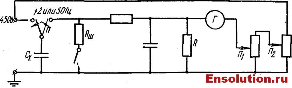 Принципиальная схема прибора для контроля увлажнения изоляции