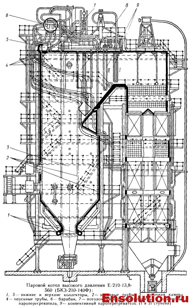 Чертеж котла Е-210-13,8-560 (БКЗ-210-140)