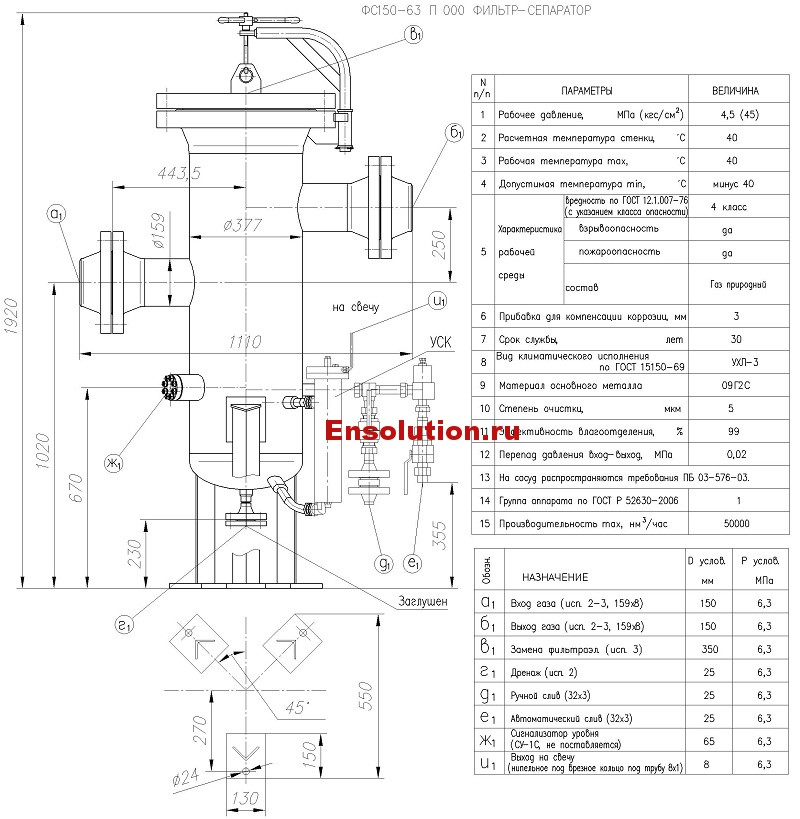 Чертеж Фильтр сепаратор ФС 150-63-1