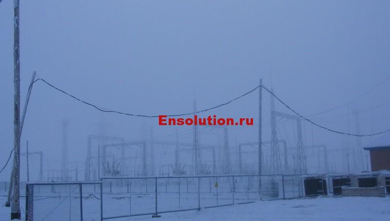 фотография подстанции зимой