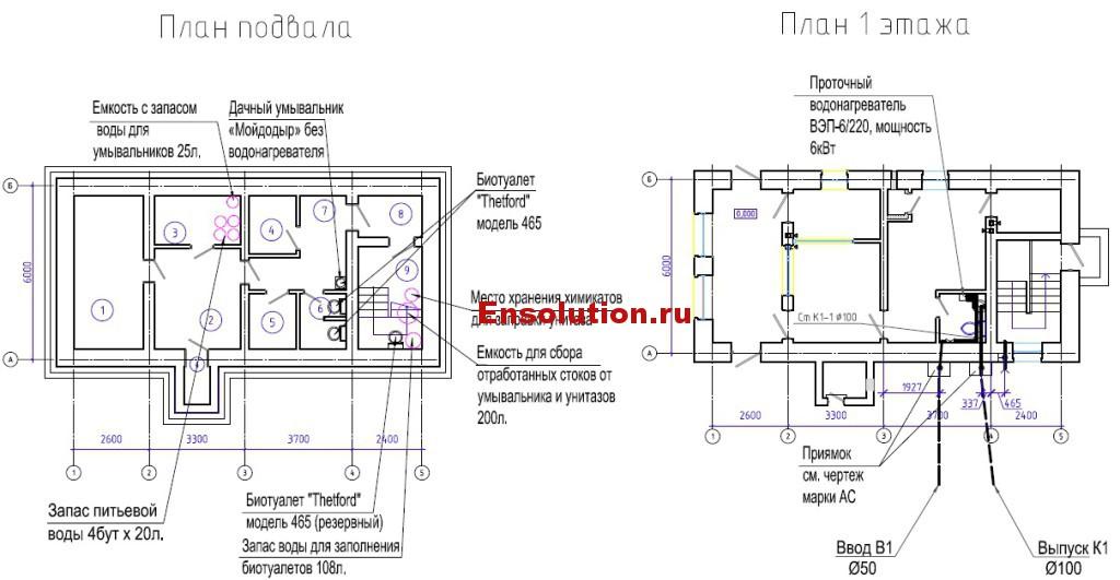 Проходная - сантехническое оборудование и сети В1, К1
