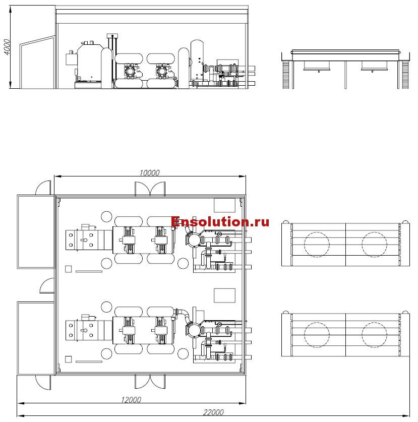 Чертеж здания компрессорной ГТЭС Майма