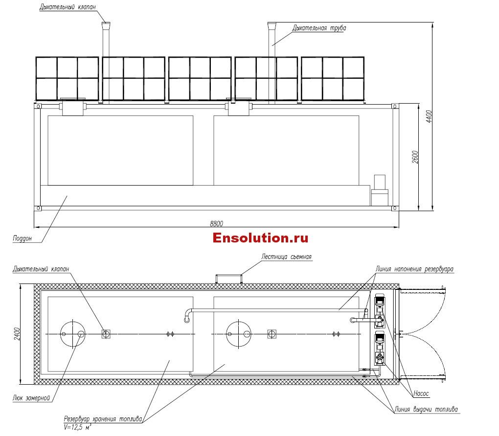 Блок-модуль хранения дизельного топлива для ДГУ (ДЭС)