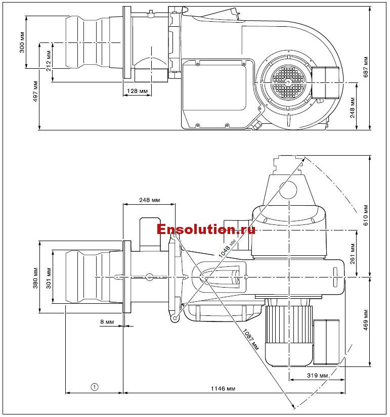 Размеры Weishaupt WM - GL30-2-A-ZM-T (W-FM 54)