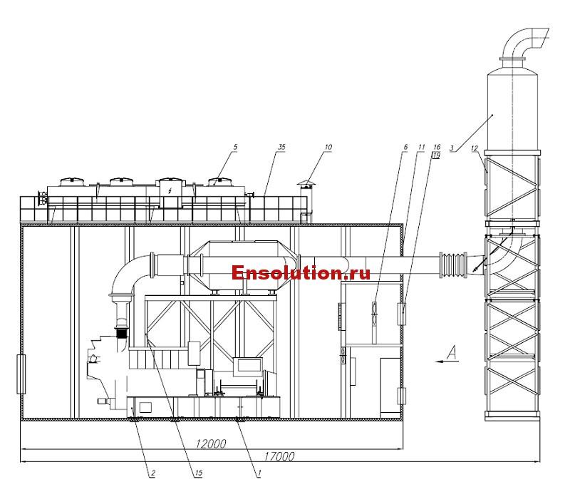 Чертеж газопоршневой генераторной установки в блок-модуле - 1