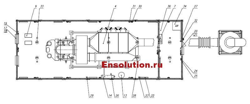 Чертеж газопоршневой генераторной установки в блок-модуле - 2