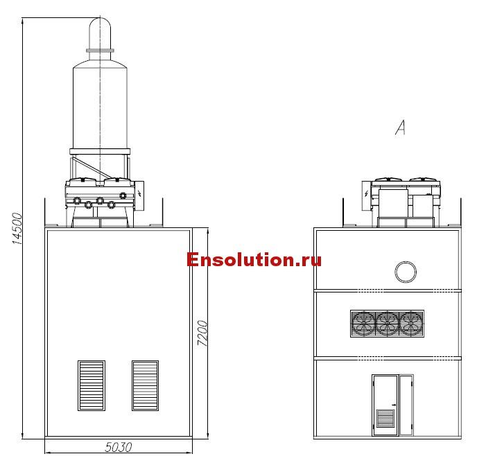 Чертеж газопоршневой генераторной установки в блок-модуле - 3