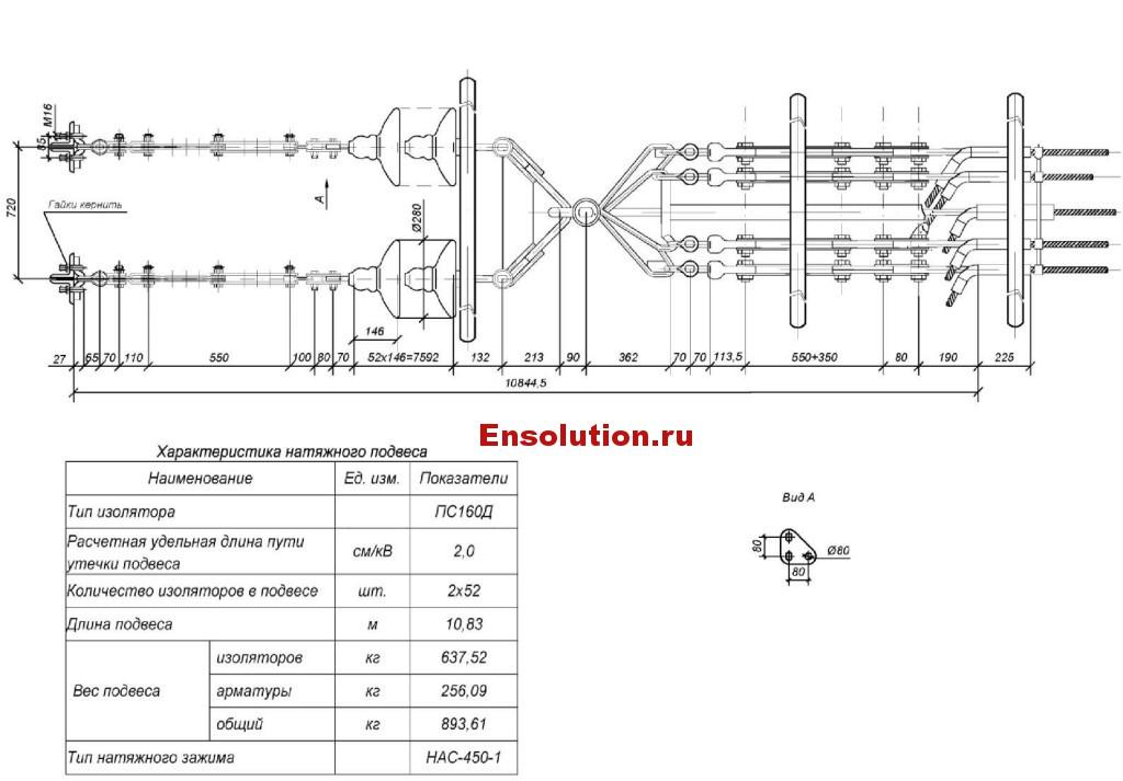 Натяжной двухцепный подвес из изоляторов типа ПС160Д для крепления пяти проводов