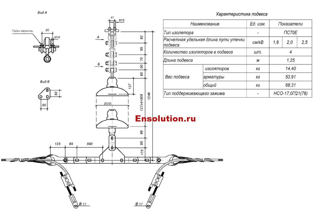 Поддерживающий подвес из четырех изоляторов для спуска кабеля ОКГТ к кабельной муфте