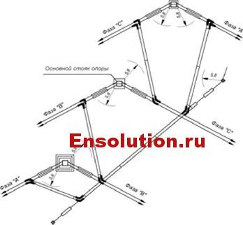 Схема транспозиции проводов на опоре