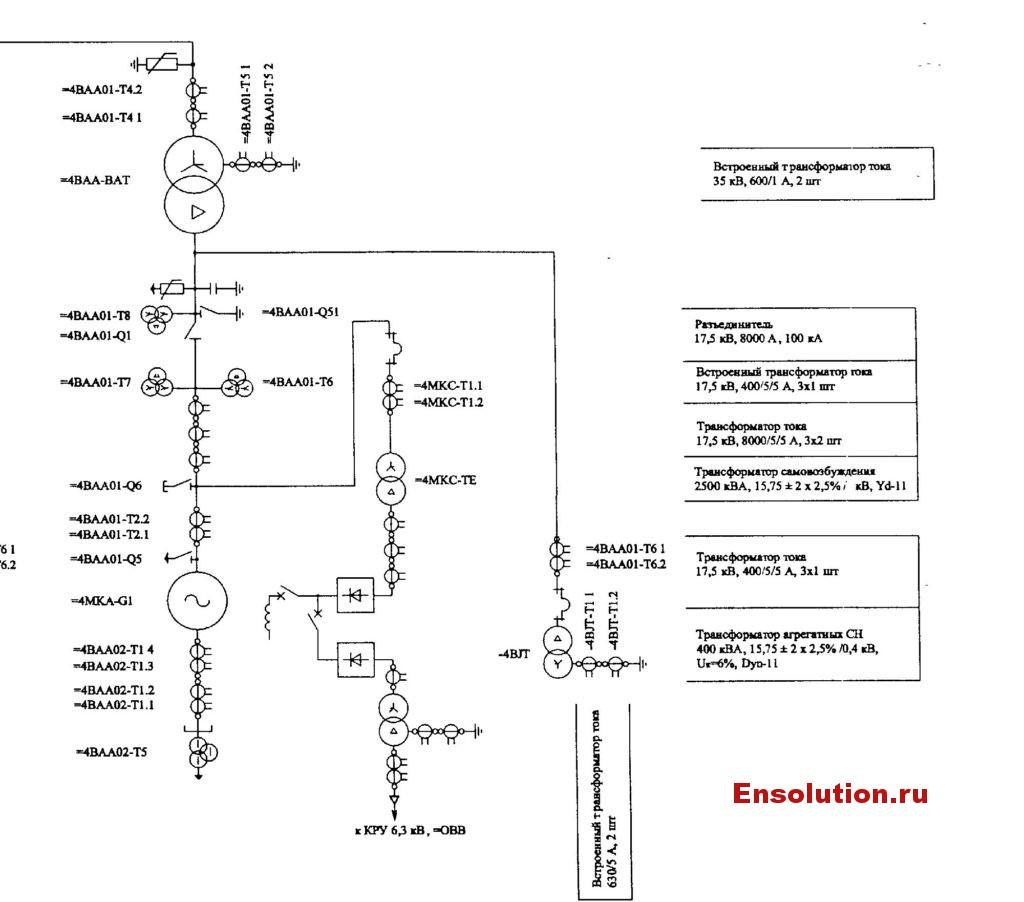 Электрическая схема трансформатора Сангтудинской ГЭС-1 в Таджикистан 1