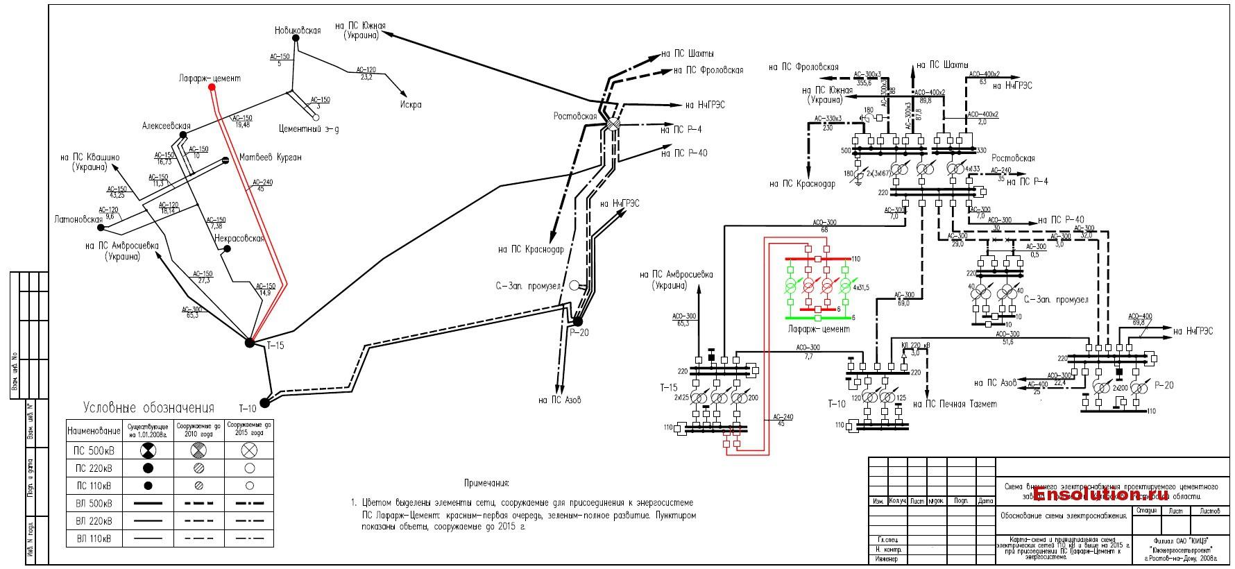 Схема внешнего электроснабжения цементного завода Лафарж в Ростовской области